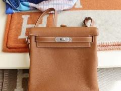Hermes CK37金棕 银扣 Kellyado背包 原厂Clemence皮 法国蜡线纯手缝