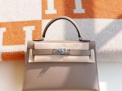 HERMES M8沥青灰 银扣 Minikelly二代 原厂Epsom皮 迷你凯莉包 纯手缝蜡线缝制工艺