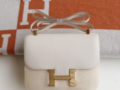 HERMES cc10奶昔白 Constance24CM 空姐包 原厂Epsom皮 银扣 纯手工手缝工艺制作