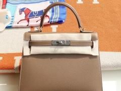 Hermes CK18大象灰 银扣 Kelly28CM 原厂Epsom皮 凯丽凯莉包 纯手缝蜡线缝制工艺