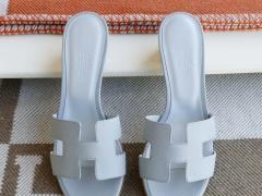 爱马仕 Hermes 白色 H中跟4.5拖鞋 Epsom 34-42码