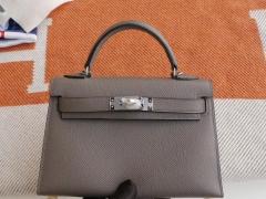 HERMES 8F锡器灰 银扣 Minikelly二代 原厂Epsom皮 迷你凯莉包 纯手缝蜡线缝制工艺