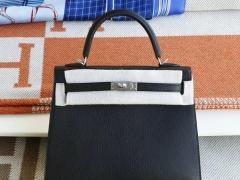 Hermes CC89黑色 磨砂银扣 Kelly25CM 原厂山羊皮 凯丽凯莉包 纯手缝蜡线缝制