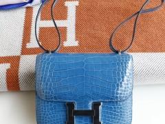 HERMES 现货 i7琉璃蓝 Constance19CM 亮面鳄鱼 银扣 空姐包 品相很好 收藏级