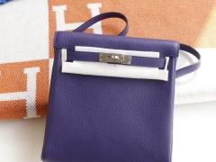 爱马仕 9W 梦幻紫 Kellyado背包 原厂Clemence皮 法国蜡线 全手缝