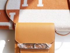 HERMES Ck18金棕 Roulis19CM 猪鼻子包 原厂Epsom皮 顶级纯手缝工艺缝制
