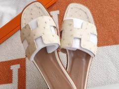 夏季必备 H家平底凉鞋女拖鞋 夏季沙滩鞋 南非鸵鸟皮 C10奶昔白 38码