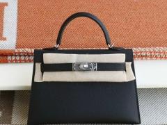 HERMES CC89黑色 银扣 Minikelly二代 原厂Epsom皮 迷你凯莉包 纯手缝蜡线缝制
