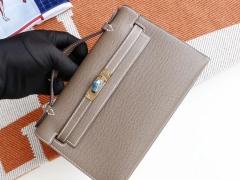 爱马仕 CK18大象灰 金扣 Minikelly一代 原厂Epsom皮 迷你凯莉包 纯手缝蜡线缝制工艺