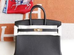 HERMES Birkin25CM CC89黑色 铂金包法国Epsom皮 老师傅全手缝 金扣