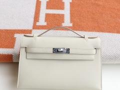 HERMES 3C羊毛白 银扣 Minikelly一代 原厂Swift皮 迷你凯莉包 纯手缝蜡线缝制工艺