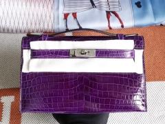 爱马仕 9G水晶紫 葡萄紫 Minikelly一代 亮面鳄鱼 迷你凯莉包 纯手缝蜡线缝制工艺