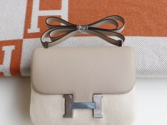 HERMES Ck81斑鸠灰 Constance24CM 空姐包 原厂Epsom皮 银扣 纯手工手缝工艺制作