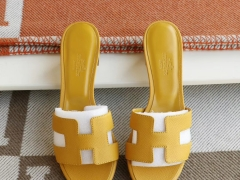 HERMES 9D琥珀黄 H中跟4.5拖鞋 爱马仕 Epsom 34-42码