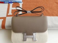 HERMES Ck18大象灰 Constance24CM 空姐包 原厂Epsom皮 银扣 纯手工手缝工艺制作