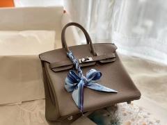 CK81斑鸠灰 银扣 birkin25CM 原厂Togo皮 铂金包 纯手缝蜡线缝制工艺
