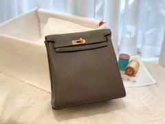 HERMES 进口 tc皮 8F锡器灰 金扣 蜡线手缝 20Kelly Ado是Kelly系列延伸设计的小书包 男女通用款