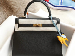 CC89黑色 金扣 Kelly25CM 专柜原厂Epsom皮 凯丽凯莉包 纯手缝蜡线缝制工艺