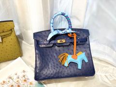 HERMES 25birkin 小可爱 进口南非kk鸵鸟皮 宝石蓝 金扣 顶级蜡线纯手缝