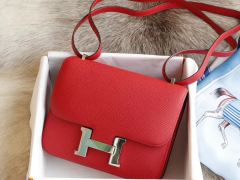 HERMES 现货 S3心红色 Constance19CM 空姐包 原厂专柜Epsom皮 银扣 纯手工手缝工艺制作