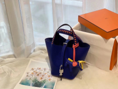 爱马仕 picotin lock 菜篮子 18 限量版编织拼接手柄 蜡线缝制 Epsom T7 电光蓝