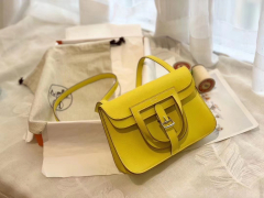 HERMES mini Halzan 肩背设计款 实用 简单 晚宴包 进口swift 皮 9R柠檬黄