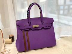 HERMES 竖条 birkin 30 海葵紫