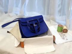 HERMES mini Halzan 肩背设计款 实用 简单 晚宴包 进口swift 皮 T7 电光蓝