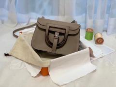 HERMES mini Halzan 肩背设计款 实用 简单 晚宴包 进口swift 皮 M8沥青灰