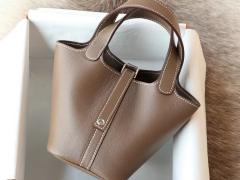 CK37大象灰 银扣 Picotin Lock 菜篮子mini 14CM 专柜原厂Swift皮 纯手缝手工缝制工艺