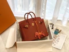 HERMES birkin 25cm swift皮 手工缝制 zp做法 金扣 Q5大红 艳也不俗 也就只有这个色了