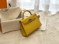 HERMES 爱马仕 mini kelly 二代 19cm epsom 银扣 90那不勒斯黄 很好看的黄 青春洋溢的味道
